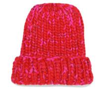 Marled Metallic Wool-blend Beanie Red Size ONESIZE