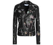 Floral-print leather biker jacket