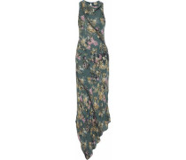 Cecilia asymmetric chain-embellished floral-print silk maxi dress