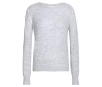 Mélange Stretch-knit Top Light Gray