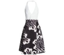 Pleated printed twill halterneck dress