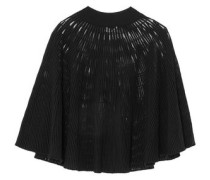 Cape-effect ribbed wool-blend top