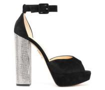 Eugenie Embellished Suede Platform Sandals Black
