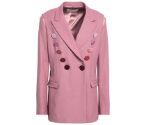 Woman Double-breasted Button-embellished Wool-blend Twill Blazer Lavender