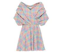 Marcella Gathered Gingham Seersucker Mini Dress Multicolor