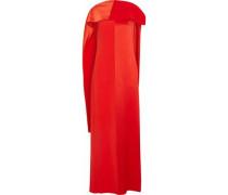 Paneled draped satin and faille maxi dress
