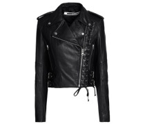 Lace-up Leather Biker Jacket Black