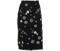 Floral-appliquéd Embroidered Lace Midi Skirt Black
