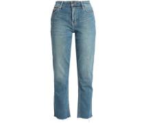 Joey Cropped High-rise Straight-leg Jeans Light Denim  7