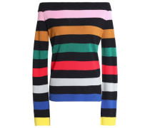 Off-the-shoulder striped stretch-knit sweater