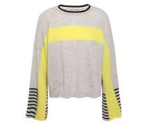 Color-block Cashmere Sweater Light Gray