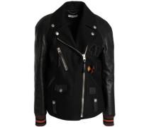 Leather-paneled wool-blend biker jacket