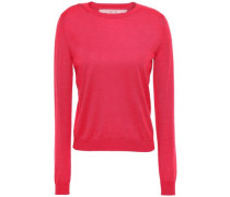 Woman Point D'esprit-trimmed Mélange Cashmere And Silk-blend Sweater Fuchsia
