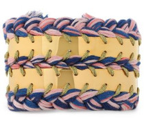 18-karat white gold-plated and cotton braided bracelet