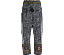Bead-embellished printed cotton harem pants
