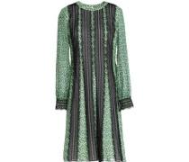 Lace-trimmed printed chiffon dress