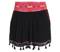 Posey tasseled embroidered cotton-gauze mini skirt