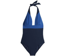 Two-tone halterneck swimsuit