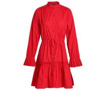 Gathered stretch-cotton poplin mini dress