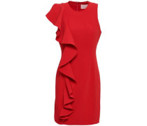 Kimberlin Ruffled Brushed-crepe Mini Dress Red