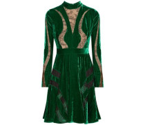 Chantilly Lace-paneled Crushed-velvet Dress Forest Green