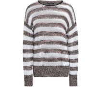 Striped open-knit linen and cotton-blend sweater