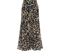 Pleated Leopard-print Silk-chiffon Midi Skirt Animal Print
