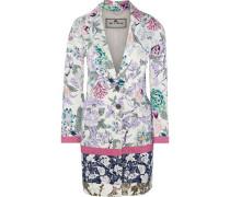 Floral-print Textured Cotton-blend Coat Lavender