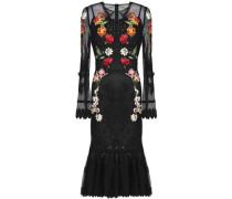 Floral-appliquéd lace-trimmed mesh midi dress