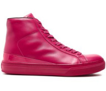 Patent-trimmed Leather High-top Sneakers Magenta