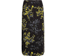 Floral-print cotton, wool and silk-blend skirt