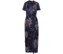 Emilie Bead And Sequin-embellished Crepe Midi Dress Indigo