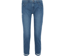 Woman Distressed Mid-rise Slim-leg Jeans Mid Denim