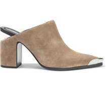 Woman Su Embellished Suede Mules Sand