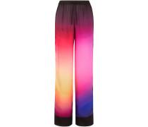 Woman Floral-print Burnout Satin-twill Wide-leg Pants Violet
