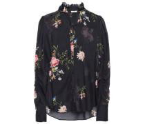 Woman Floral-print Silk-chiffon Blouse Black