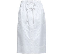 Bow-detailed Perforated Cotton-blend Sateen Midi Skirt White