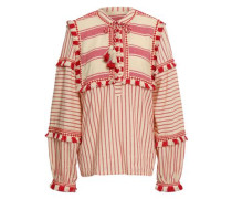 Emanuelle Embroidered Striped Cotton-gauze Top Tomato Red