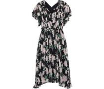 Woman Ruffled Floral-print Silk-georgette Dress Black