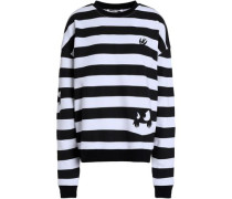 Appliquéd French Cotton-terry Sweatshirt Black