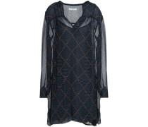 Printed Crinkled Georgette Mini Dress Midnight Blue