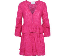 Embroidered Cotton And Silk-blend Peplum Mini Dress Fuchsia