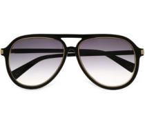 Aviator-style acetate and gold-tone sunglasses