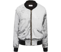 Teddy sequined jersey bomber jacket