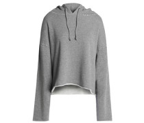 Distressed cotton-blend French terry hooded sweatshirt