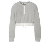 Cropped Striped Poplin-trimmed Waffle-knit Cotton Sweater Light Gray