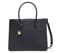 Woman Logo-appliquéd Textured-leather Tote Navy