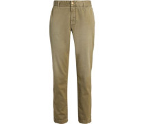 Cotton-twill Straight-leg Pants Army Green  3
