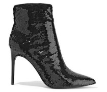 Woman Celyn Sequined Woven Ankle Boots Black