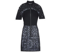Macramé-paneled stretch-crepe mini dress